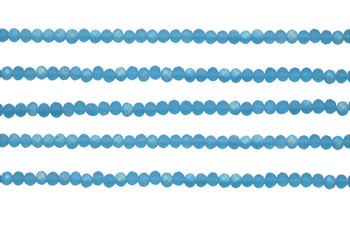 Glass Crystal Matte 3x4mm Faceted Rondel - Aquamarine AB