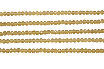 Glass Crystal Polished 3x4mm Faceted Rondel - Golden Champagne