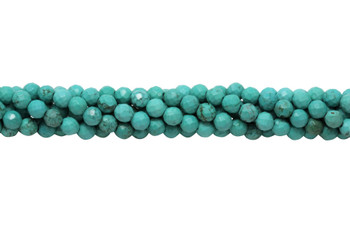 Chinese Turquoise Polished 6mm Faceted Round