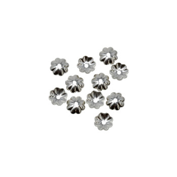 Sterling Silver 5mm Flower Bead Caps - 10 Pieces