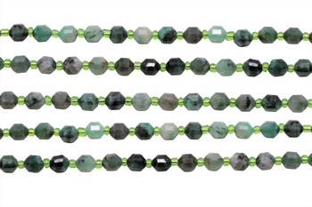 Emerald Polished 6x7mm Prism Rondel