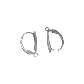 Sterling Silver Shield Leverback Earrings - Sold as a Pair