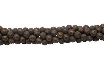 Tibetan Style 8mm Round Brown Agate Matte Brown / Black
