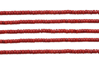 Red Coral Dyed Polished 2x4mm Wheel