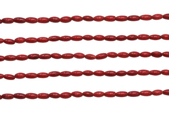 Red Coral Dyed Polished 3x6mm Rice