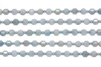 Aquamarine Polished 6x7mm Prism Rondel