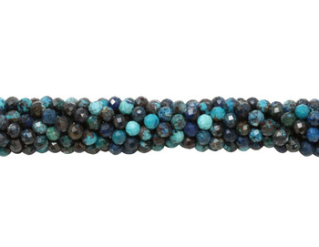 Chrysocolla Polished 2mm Faceted Round - Dark Blue