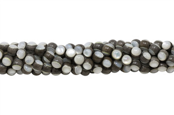 Troca Shell Mother of Pearl Grey Wood Inlay 8mm Round