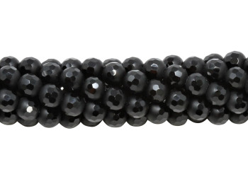 Black Onyx Matte 6mm Round with Polished Facets