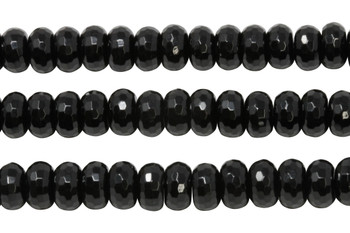 Black Onyx Polished 6x10mm Faceted Rondel