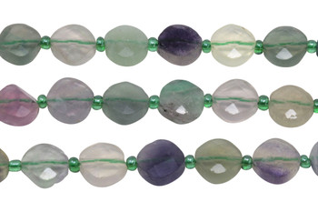 Rainbow Fluorite Polished 10mm Faceted Diamond with Spacers