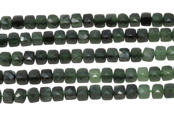 Canadian Jade Polished 4mm Faceted Cube