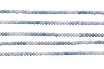 Blue Opal Polished 3mm Faceted Rondel -  Banded