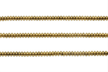 Gold Plated Hematite Polished 4x2mm Saucer
