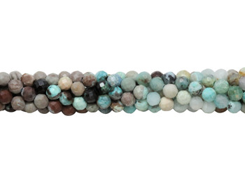 Chrysocolla Polished 4mm Faceted Round - Multi Color Banded