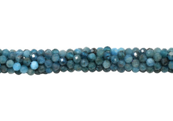 Apatite Polished 3mm Faceted Round - Dark Blue