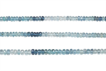 Brazilian Aquamarine Polished 5mm Faceted Rondel - Ombre