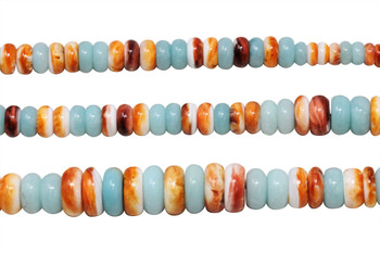 Spiny Oyster and Amazonite Multi Color Polished 6-12mm Rondel - Graduated