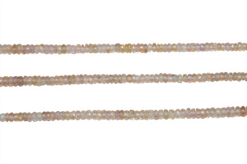 Light Peach Madagascar Sapphire Polished 2-4mm Faceted Rondel - Graduated