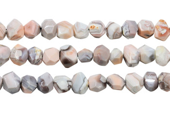 Pink Botswana Agate Polished 12x16mm Faceted Nugget