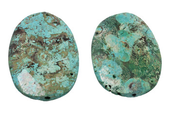 Imperial Jasper Green Turquoise Faceted Oval