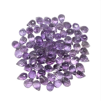 Brazilian Amethyst Polished 5x8mm Faceted Drop