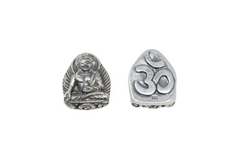 Buddha 18x15mm Bead - Sterling Silver