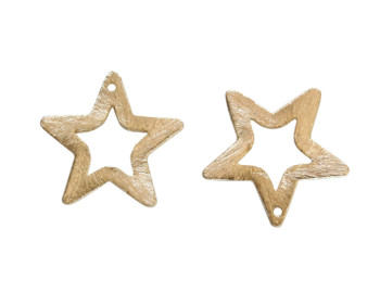 Open Star 29mm Pendant - Light Gold Plated