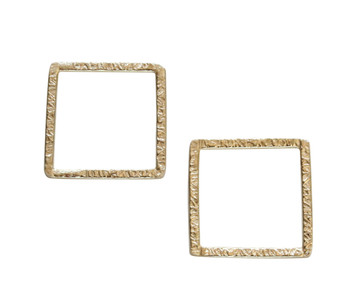 Open Square Ring 20mm - Light Gold Plated