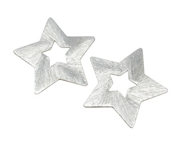 Open Star 24mm Charm - Light Silver Plated - No Hole