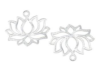 Lotus 30x25mm Pendant - Light Silver Plated