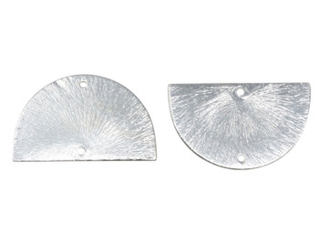 Semi Circle 32x20mm Pendant Link - Light Silver Plated