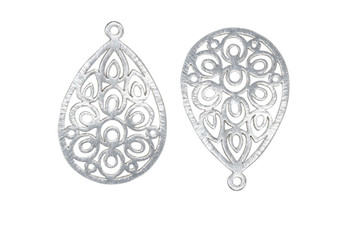 Peacock Drop 47x30mm Pendant - Light Silver Plated