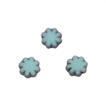 Czech Glass 9mm Cactus Flower - Blue / Green Metallic Grey