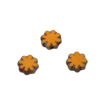 Czech Glass 9mm Cactus Flower - Alloy Orange Picasso