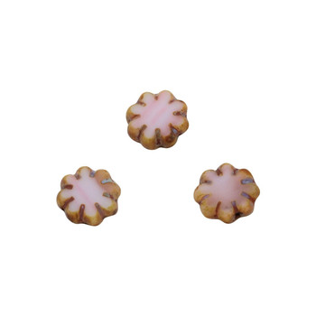 Czech Glass 9mm Cactus Flower - Salmon Pink Picasso