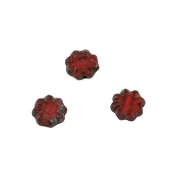 Czech Glass 9mm Cactus Flower - Ladybug Picasso