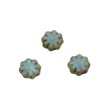 Czech Glass 9mm Cactus Flower - Sea Blue Picasso