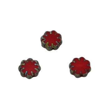 Czech Glass 9mm Cactus Flower - Red Picasso
