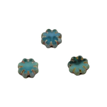 Czech Glass 9mm Cactus Flower - Sea Green Blue Picasso
