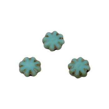 Czech Glass 9mm Cactus Flower - Sea Green Picasso