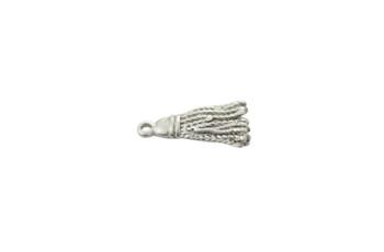 Satin Rhodium 21mm Tassel Charm Pendant