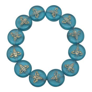 Czech Glass 12mm Bee Coin - Transparent Aqua Blue Matte with Gold Wash