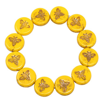 Czech Glass 12mm Bee Coin - Yolk Yellow with Dark Bronze Wash