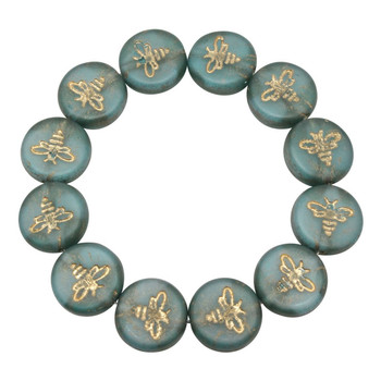 Czech Glass 12mm Bee Coin - Transparent Aqua Blue Matte with Opaque White Core and Gold Wash