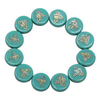 Czech Glass 12mm Bee Coin - Opaque Green Turquoise with Gold Wash