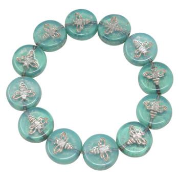 Czech Glass 12mm Bee Coin - Aqua Blue Opaline with Platinum Wash
