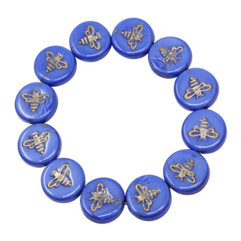 Czech Glass 12mm Bee Coin - Royal Blue Silk with Gold Wash