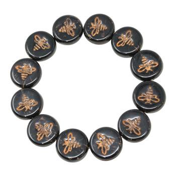 Czech Glass 12mm Bee Coin - Opaque Jet Black with Dark Bronze Wash