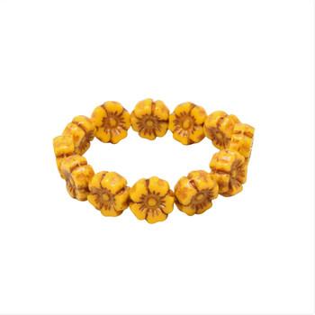 Czech Glass 7mm Hibiscus Flower Beads - Opaque Yellow Yolk with Bronze Wash